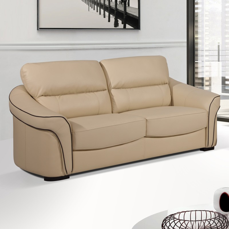Longdon 3 seater settee cream leather sofa
