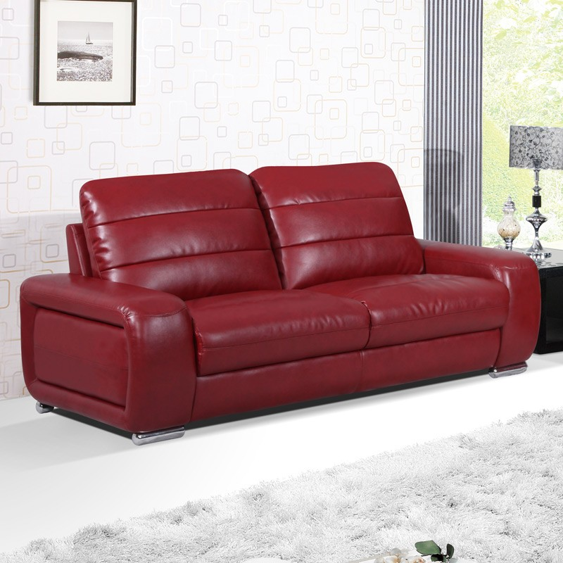 Stanton 3 seater settee cranberry red leather sofa
