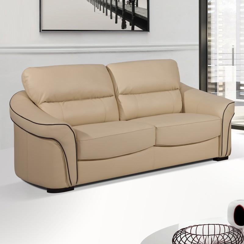 Longdon 3 seater settee cream leather sofa