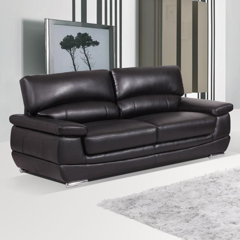 Edingale 3 seater settee midnight black leather sofa