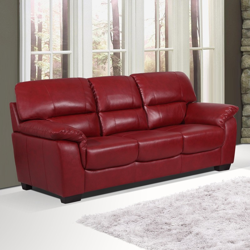 Essington 3 seater settee cranberry red leather sofa